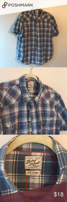 Lucky brand. Short sleeve. Button up. Smoke free. Short sleeve. Button up. lucky brand. Western. Lucky Brand Shirts Casual Button Down Shirts