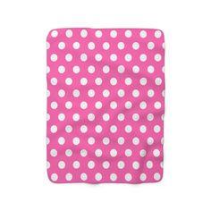 HOT PINK POLKA Dots Blanket Baby Girl Nursery Bedding Decor Hot Pink Decor, Navy Blue Decor, Baby Girl Nursery Bedding, Bedding Decor, Baby Girl Blankets, Fleece Throw, Blanket Sizes, Pink Polka Dots