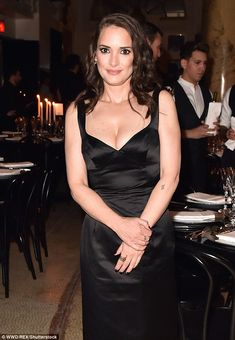 Winona Ryder shows off her cleavage in satin LBD at Marc Jacobs event Winona Forever, Cute Tats, 0 Image, Winona Ryder, Old Actress, American Actors, Lbd, Put On, Marc Jacobs