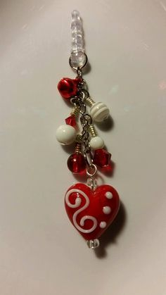 Valentines Cell Phone Charms Hearts Pink Red by HollysHobbies813