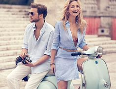 Exclusive Photo: Kate Hudson's Latest Ann Taylor Ad Stars the Most Perfect Shirtdress and a Hot Guy on a Vespa Vespa Girl, Scooter Girl, Scooters, Vespa Wedding, Retro Roller, Vespa Motorcycle, Hudson News, Boho Fashion, Fashion Beauty