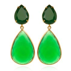 Faceted Green Onyx Earrings with Removable Drops $320.00