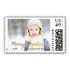 Gold Merry Christmas Photo Postage Stamps  #holiday #postage #christmas