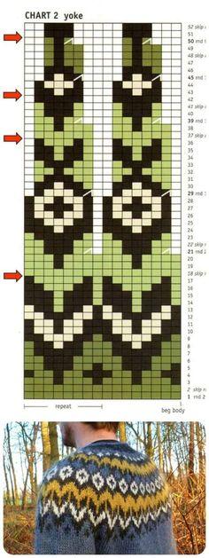Fair Isle Knitting Patterns, Fair Isle Pattern, Knitting Charts, Knitting Stitches, Baby Knitting, Crochet Chart, Knit Crochet, Fair Isle Chart, Icelandic Sweaters