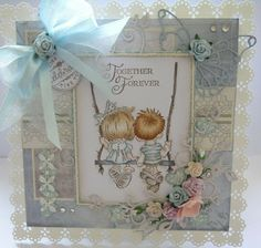 Handmade card, for engagement. Lili of the valley stamp used.- together forever. This card was hand crafted by Klare Chambers