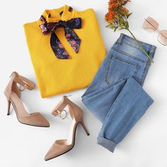 To find out about the Solid Knotted Decoration Sweater at SHEIN, part of our latest Sweaters ready to shop online today! Cute Summer Outfits, Classy Outfits, Outfits For Teens, Chic Outfits, Trendy Outfits, Fall Outfits, Fashion Outfits, Passion For Fashion, Love Fashion