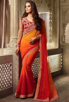 Sunset Orange and Golden Orange Saree with Designer Blouse
