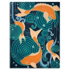 Obsessed with these art tiles  6x8 Koi Pond - Turquoise from Motawi Tileworks