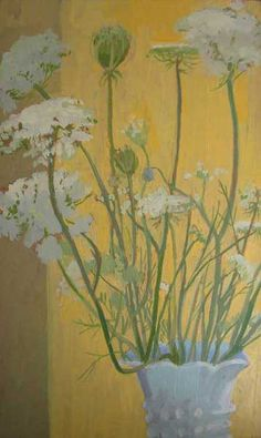 "Celia Reisman | 'Queen Anne's Lace' {Oil on silk panel, 10 x 6"", 2010}"