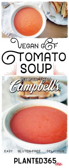 This Vegan GF Tomato Soup is rich, creamy, and even better than Campbell's! It's so easy to make with common pantry ingredients. Healthy and delicious! Vegan Tomato Soup, Tomato Soup Recipes, Vegan Soups, Chili Recipes, Vegan Dishes, Gluten Free Soup, Gluten Free Recipes, Vegan Recipes, Vegan Food