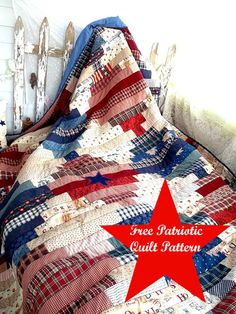 free sewing patterns for patriotic quilts Flag Quilt, Patchwork Quilt, Patriotic Quilts, Jellyroll Quilts, Quilt Blocks, Scrappy Quilts, Denim Quilts, Flannel Quilts, Patriotic Crafts