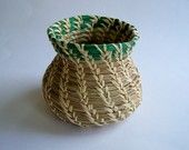 Pine Needle Pot with Green Broom Corn