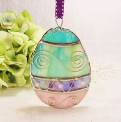 NEW Stained Glass Ornate Easter Egg with Purple by MoreThanColors,
