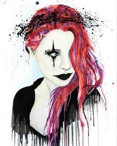 """The Nihilist"" illustrates a very common occurrence, in which a youth has been forced into believing in a god by their parents and by society. The clown makeup represents that she, being an atheist, feels ridiculous faking her beliefs to satisfy her parents. The crown of thorns symbolizes the existential agony that lying to herself causes. Her expression shows a hidden but deep-rooted hatred, and the shades of red and violet serve to underline the existence of violent ideas in the mind of…"