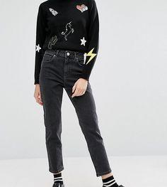 ASOS PETITE Farleigh Slim Mom Jeans In Washed Black - Black