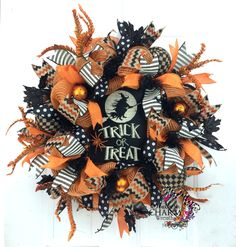 Deco Mesh Halloween Wreath w Trick-or-Treat sign in Orange and Black, Halloween Decor, Holiday Wreath, Outdoor Wreath by SouthernCharmWreaths (168.00 USD) http://ift.tt/1eYcbsd