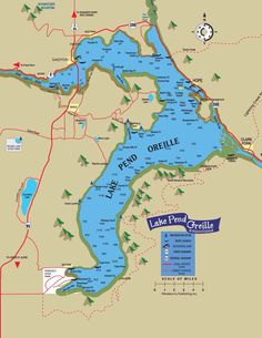 A map of of Lake Pend Orielle.