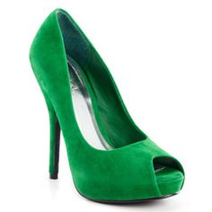 If you're hitting up the annual holiday office party after work, swap out your black pumps for this pair of Kelly green Qupid Heigl heels—so much more fashionable than (but just as festive as) a Santa hat.