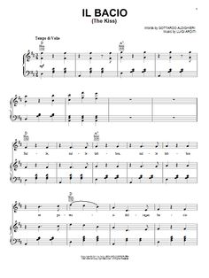 Download Piano/Vocal/Guitar sheet music to Il Bacio (The Kiss) by Luigi Arditi and print it instantly from Sheet Music Direct.