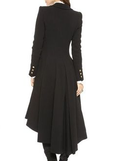 Laconic Turndown Collar Long Sleeve Black Long Coat #coatswomen