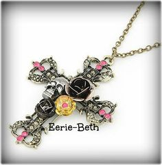 JEWELRY NECKLACE Antique BRONZE Gothic Punk Skull by EerieBeth