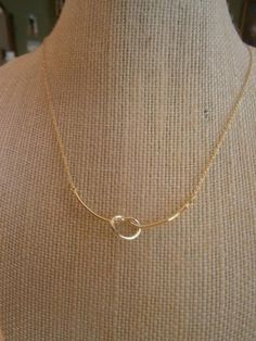 """18K Gold Plated """"Love Knot"""" Choker Necklace; Delicate Choker Necklace; Gold Necklace"""