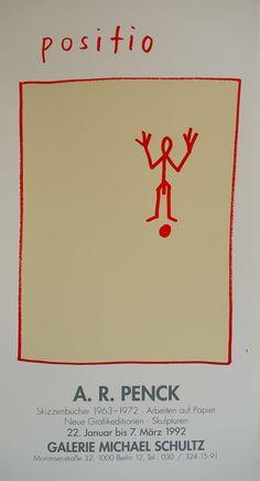 R Penck Original Exhibition Poster 1992 – Art & Vintage Store Ltd Graphic Design Brochure, Graphic Design Posters, Identity Branding, Corporate Identity, Corporate Design, Identity Design, Visual Identity, David Carson Design, Art Exhibition Posters