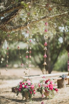 Flower garlands made from egg crates. Bohemian Southern California wedding | 100 Layer Cake