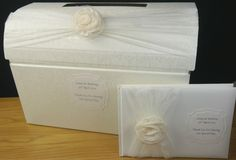 Wedding post box & guest book decorated,  organza, shabby chic flower