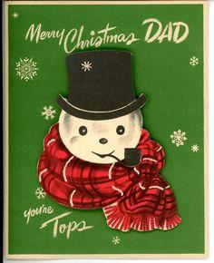 Vintage Norcross Greeting Card Snowman Face Die Cut 3056