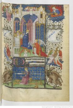 I don't even know where to start with this page! It's pretty and busy. And look at the awesome tablet weaving loom at the bottom! From Horae ad usum Parisiensem [Heures de René d'Anjou, roi de Sicile] Folio 23r
