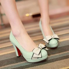 Elegant Sweet Contrast Color Bowknot High-heeled Shoes Pumps