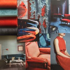 Power palette. Loving this colour combo of blues and rusty reds. Fabrics: Entice Terracotta, Dolce Lagoon, Entice Tangelo, Dolce Midnight. #warwickfabrics #moodboard