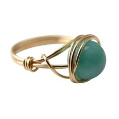 Peruvian Amazonite wire wrapped 14kt gold-filled ring,  $15
