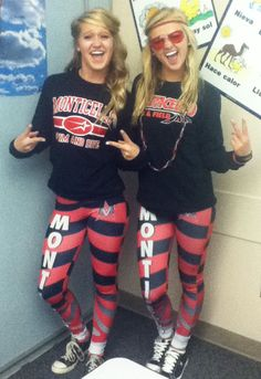 These two girls showing off their school spirit during Homecoming week with custom dye-sub leggings!