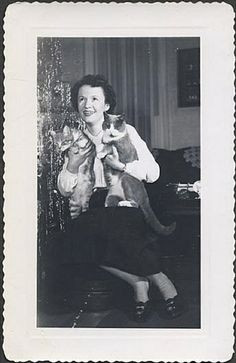 Vintage photo - Woman holding two cats