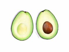 Avocado Halves Art // Food Illustration // Archival Art Print, Green Home Decor