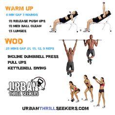 10 release push ups, 10 med ball clean, 15 lunges, Incline dumbbell press, Pull ups, Kettlebell Swing
