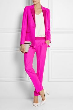 Pallas Hermione satin-trimmed wool-crepe blazer | Structured shoulders and silk-satin lapels inspired by Le Smoking | Style with the matching pants - both pieces cut from the same roll of fabric to ensure absolute color consistency | Designer color: Pink | All garments can be altered and can go up one whole size | $1,985 || Gianvito Rossi pumps | $660