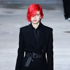 Meet the Neon-Haired Model Who Ruled the Runway at Saint Laurent