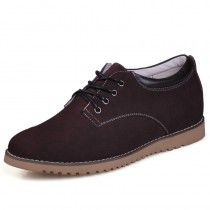 Brown Suede Leather Height Casual shoes for men can be taller 6cm / 2.36inches invisibly