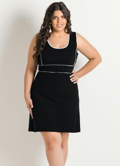 Vestido Rodado Marinho Quintess Plus Size nas Lojas
