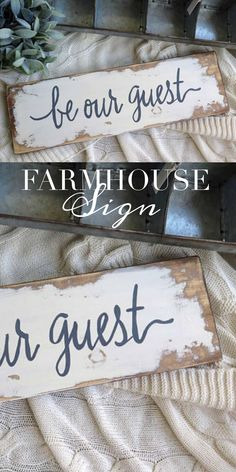Fabulous Rustic Farmhouse Wood Sign. #ad Be Our Guest Sign. Great Wall decor to add to your farmhouse style. #farmhouse #farmhousedecor #farmhousestyle #homedecor #walldecor