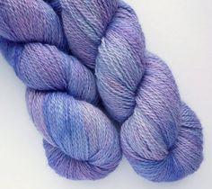Baby Alpaca / Silk / Cashmere Yarn - Luxury 2-ply Sport Weight Yarn in Periwinkle Colorway from Wandering Wool's Etsy shop