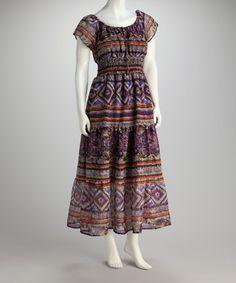 Purple Drawstring Maxi Dress - Women #zulily #zulilyfinds