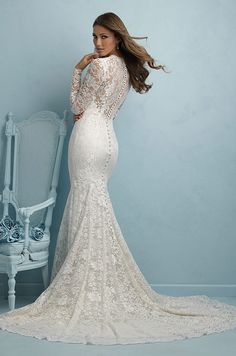 Beautiful all-lace long sleeves wedding dress by Allure, 2015