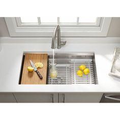 """Kohler Prolific 33"""" x 17-3/4"""" x 11"""" Under-Mount Single Bowl Kitchen Sink with Accessories"""