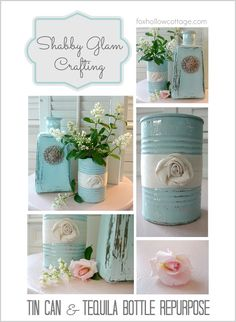 "Shabby Vintage Tin Can Craft; This whole upcycle, recycle, reuse, repurpose thing. is pretty darn cool! Join me and craft ""blah"" tin cans into shabby, pretty containers with vintage flair and multiple uses! Manualidades Shabby Chic, Diy Y Manualidades, Shabby Chic Bedrooms, Shabby Chic Homes, Small Bedrooms, Guest Bedrooms, Shabby Chic Crafts, Shabby Chic Decor, Rustic Decor"