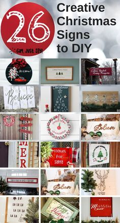 Create these 26 Christmas Signs for your house this holiday. Easy DIY craft projects to make in a day for yourself or as inexpensive gifts. #girljustdiy Cricut Christmas Ideas, Christmas Signs Wood, Holiday Signs, Simple Christmas, Christmas Photos, Christmas Diy, Holiday Decor, Xmas, Christmas Ornaments