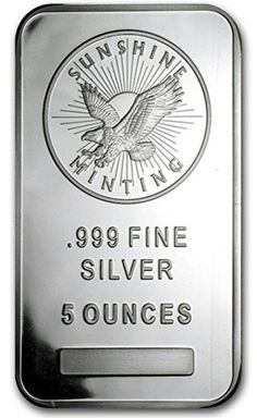 5 oz Silver Bar from Sunshine Mint in Coins. Silver Bullion, Silver Bars, Silver Coins, Sunshine, Mint, Silver Quarters, Nikko, Peppermint
